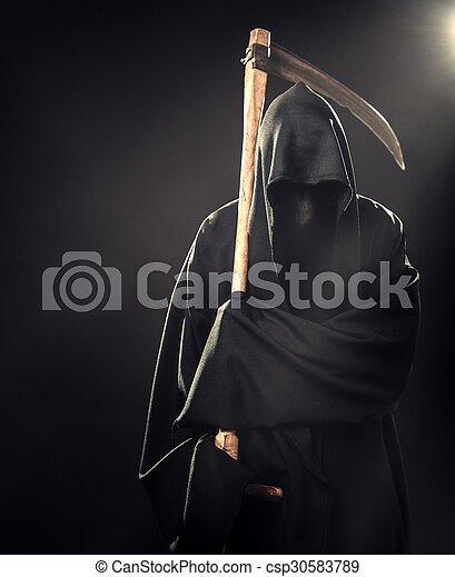 death with scythe standing in fog at night