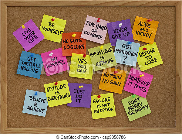 motivational reminders on bulletin board - csp3058786