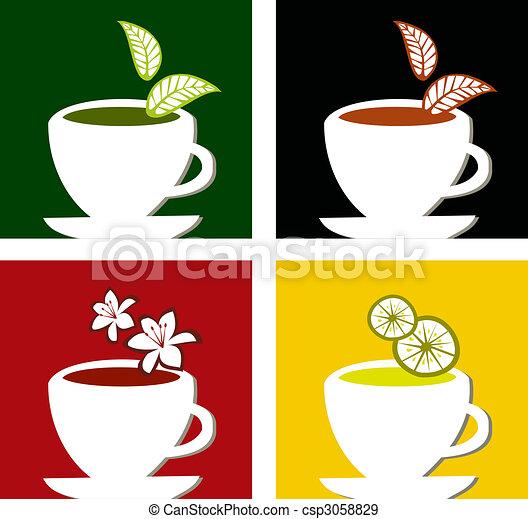 colorful square tea labels composition - csp3058829