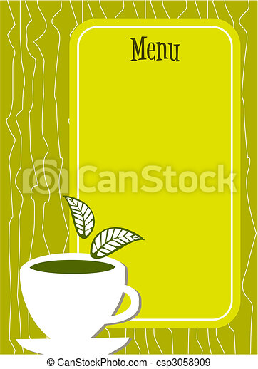 Lemon tea Menu cover with cup and leaves - csp3058909