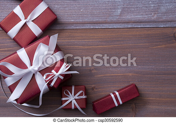 Red Christmas Gifts, Presents, White Ribbon, Copy Space