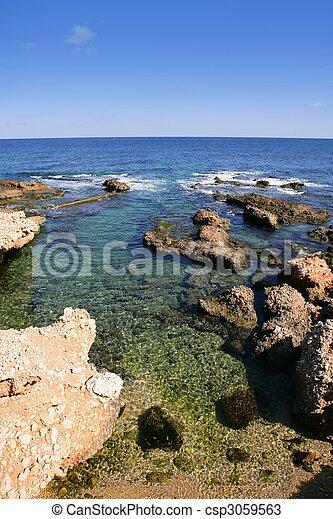 plage,  las,  rotas, dans, espagne,  Denia,  Alicante, méditerranéen, mer - csp3059563