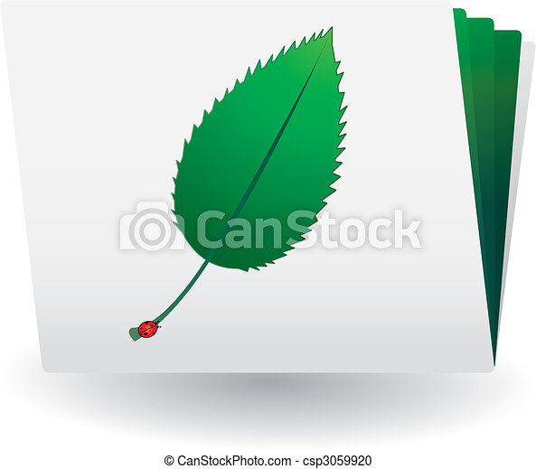 Catalog with green leaf and ladybird on top - csp3059920