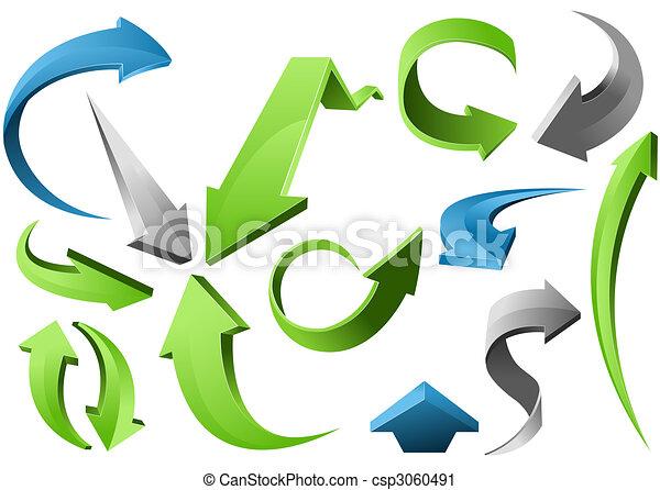3D Arrow Signs  - csp3060491