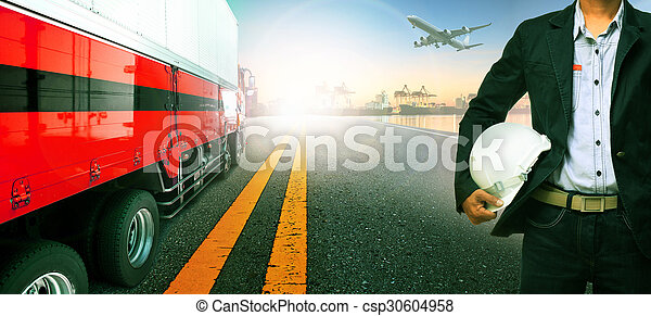 working man , truck transport in import , export ship port harbor and freight cargo plane flying above