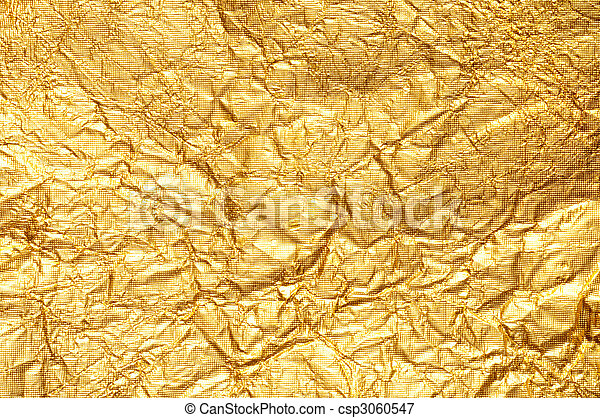 Crumpled gold foil textured background - csp3060547
