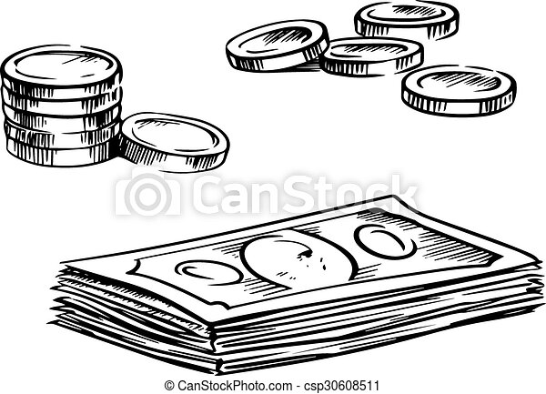 Vector Clip Art of Coins and stacks of dollar bills sketches ...