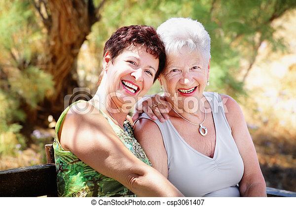 Beautiful senior mother and daughter - csp3061407