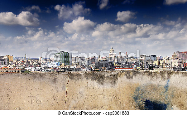 Eroded wall and havana skyline - csp3061883