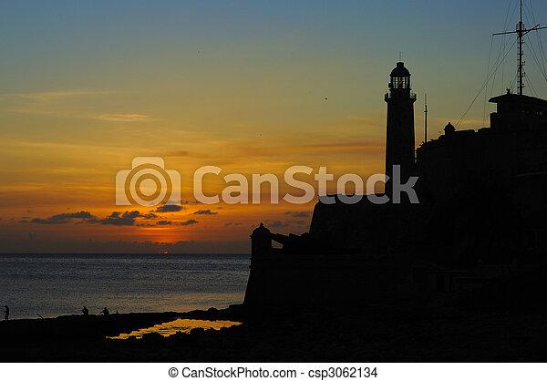 "Sunset on Havana fortress \\\""El Morro - csp3062134"