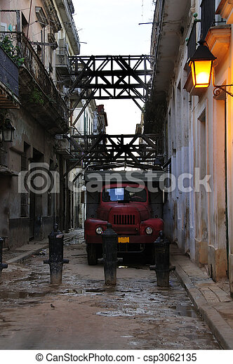 Messy havana street with old truck - csp3062135