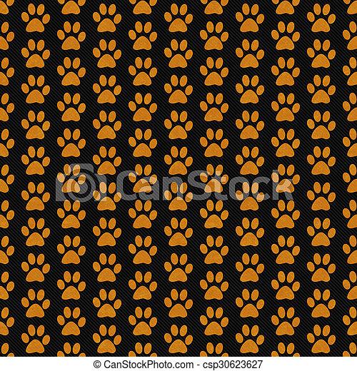 Orange and Black Dog Paw Prints Tile Pattern Repeat Background