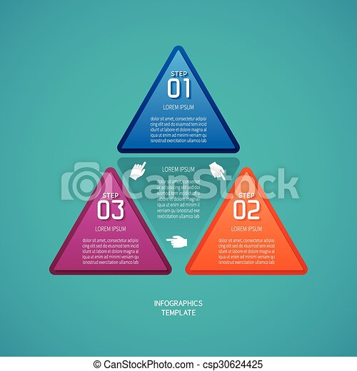 Abstract vector 3 steps infographic template in flat style for layout workflow scheme, numbered options, chart or diagram - csp30624425