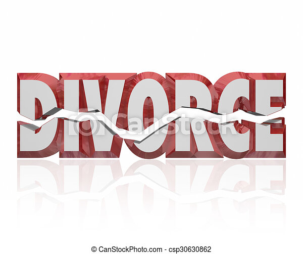 Stock Illustration of Divorce Red 3d Word Broken Marriage ...