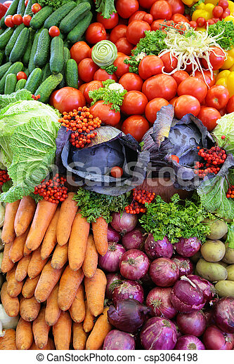 Fresh vegetable variety, vertical photo - csp3064198