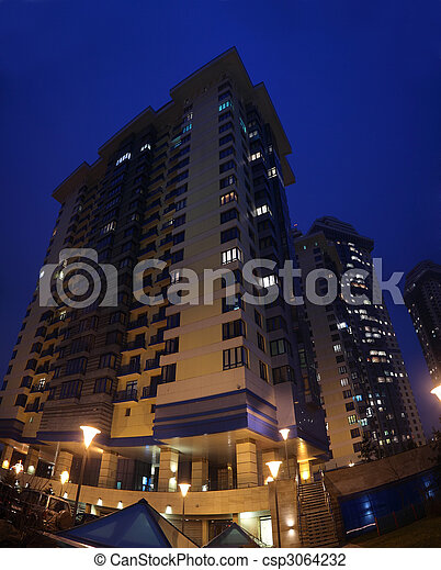 Apartment house at evening - csp3064232
