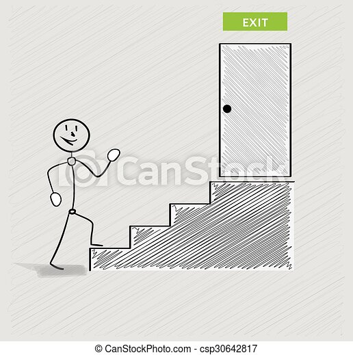man and stairs to exit - csp30642817