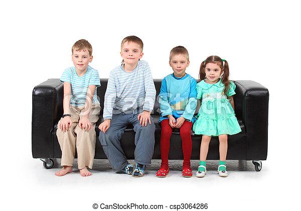 stock bild von vier kinder sitzen schwarz leder sofa csp3064286 suchen sie stock. Black Bedroom Furniture Sets. Home Design Ideas
