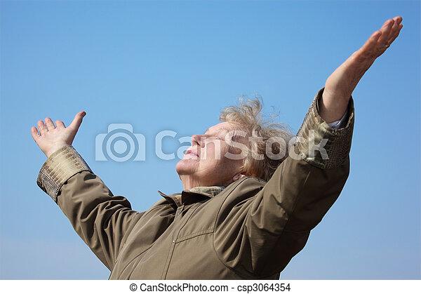 mulher, rised, idoso, mãos - csp3064354
