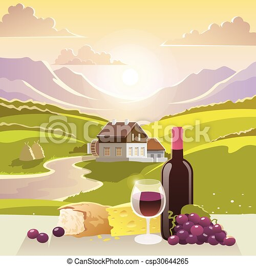 Mountain Landscape With Wine And Cheese - csp30644265