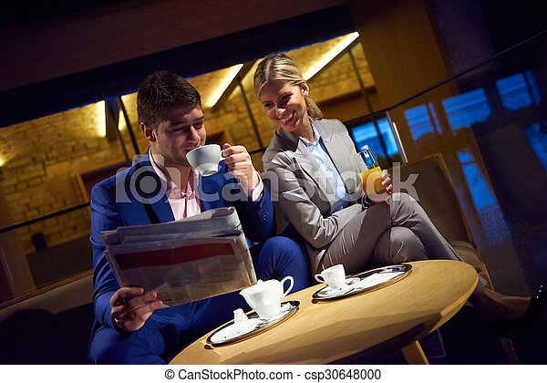 business couple take drink after work