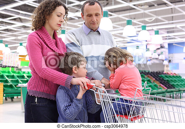 elderly man and  young woman with children in shop with empty shelves - csp3064978