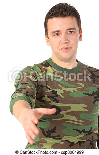 man in camouflage greets - csp3064999