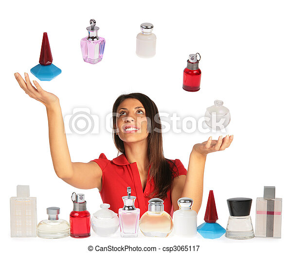 Woman looking up and juggling perfumes collage - csp3065117