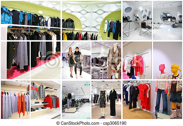 clothes shop interior collage - csp3065190