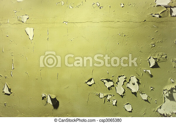 Wall with  peeled off green paint - csp3065380