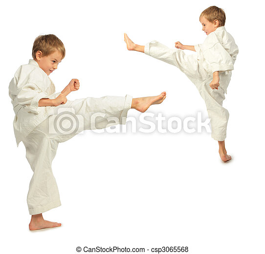 Karate boys kick by foot - csp3065568