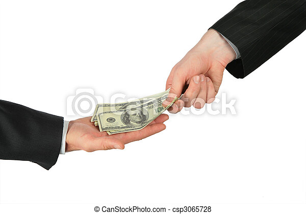 One hand places dollars into another - csp3065728