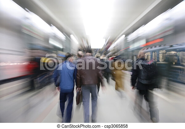 Zooming passengers in subway - csp3065858