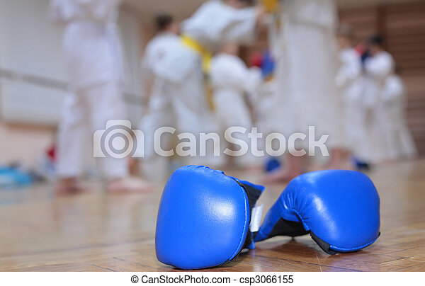 boxing gloves on floor of sport hall