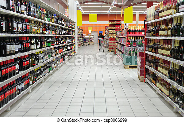 Wine department in supermarket - csp3066299