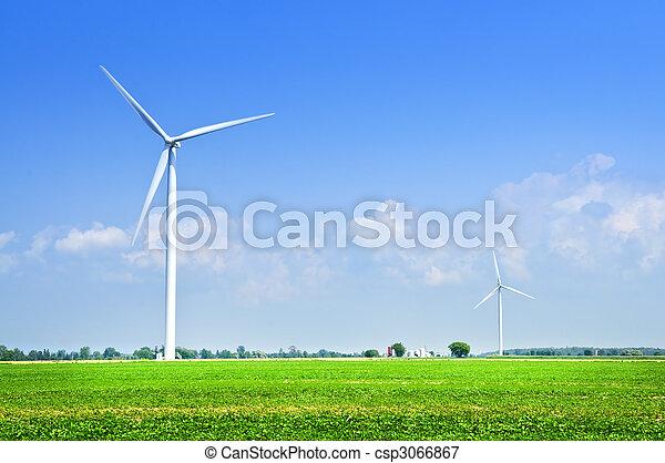 Wind turbines in field - csp3066867