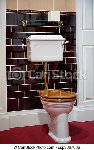 Stock beeld van toilet ouderwets stijl toilet in ouderwets stijl csp3067086 zoek naar - Stijl van toilet ...