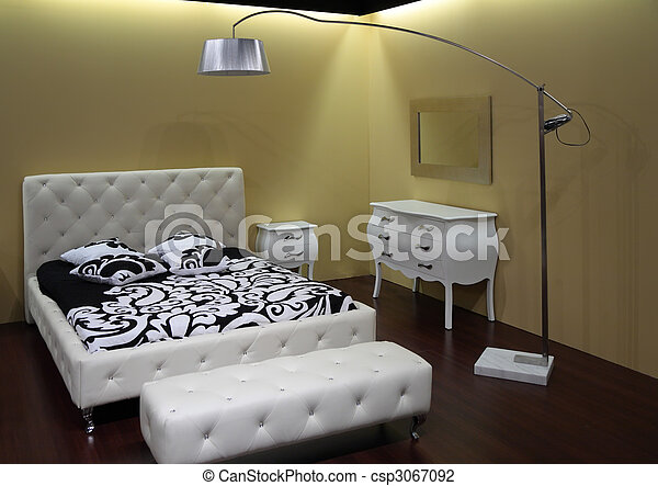 Photo de moderne chambre coucher moderne blanc for Chambre a coucher blanc