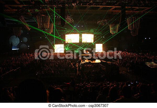 Green rays on night show - csp3067307