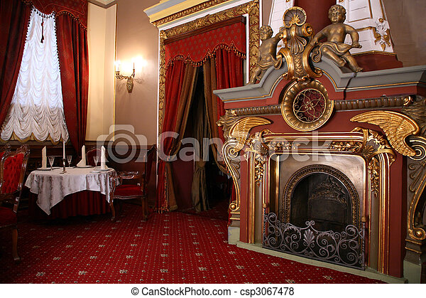 fireplace in old restaurant - csp3067478