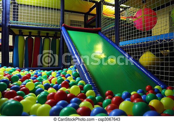 Children`s playroom with multicolor balls - csp3067643