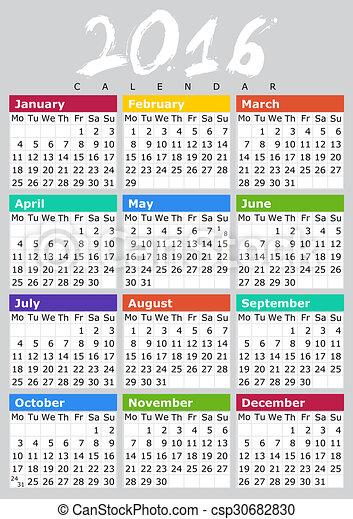 Drawings of Kalendar 2016 B ENG - Simple Calendar Design for 2016 Year ...