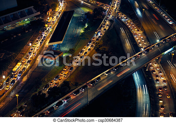 Panama City Traffic Cars On Highway And Streets At Night
