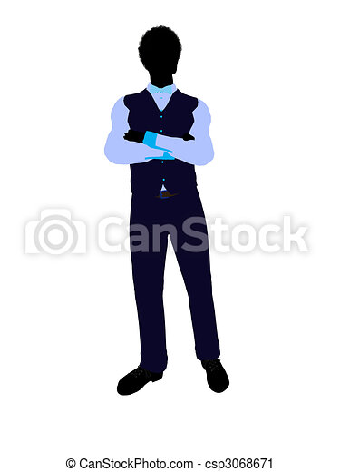 African American Business Man Silhouette - csp3068671