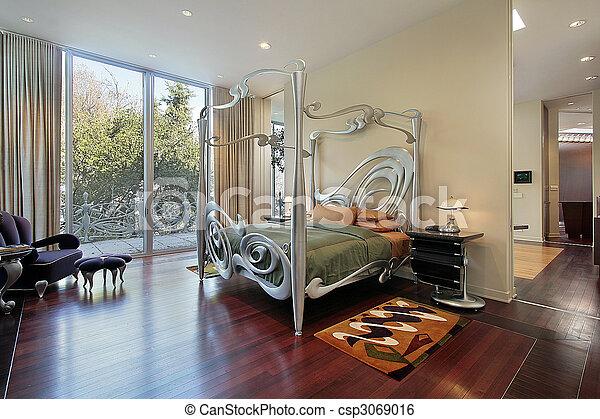 Master bedroom with sliding doors to patio - csp3069016