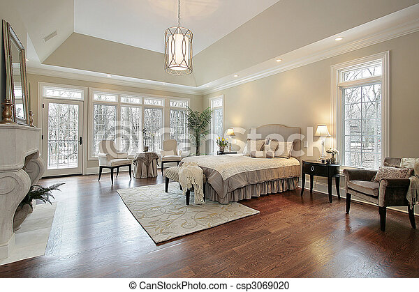 Master bedroom in new construction home - csp3069020