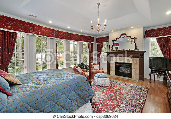 Master bedroom in luxury home - csp3069024