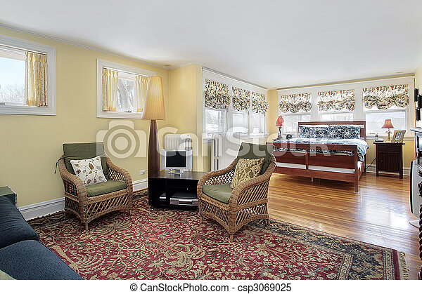 Master bedroom with sitting area - csp3069025