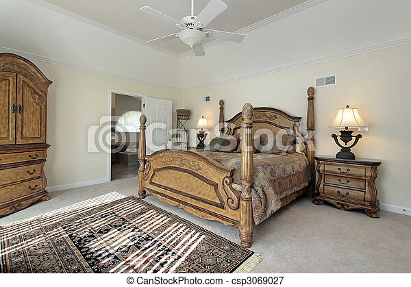 Master bedroom with wood furniture - csp3069027