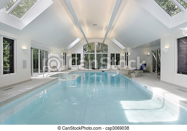 Large swimming pool in luxury home - csp3069038